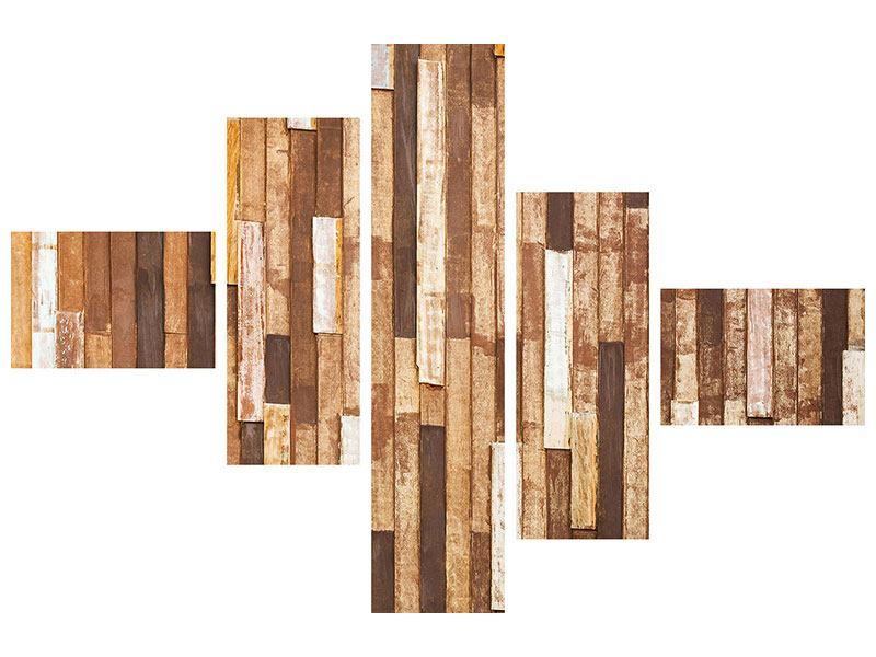 Leinwandbild 5-teilig modern Designholz