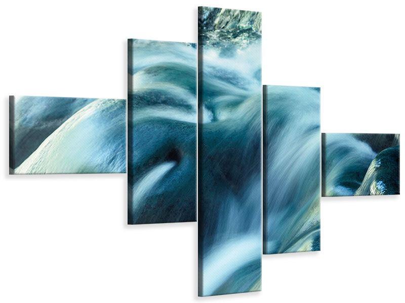 Leinwandbild 5-teilig modern Das Fliessende Wasser