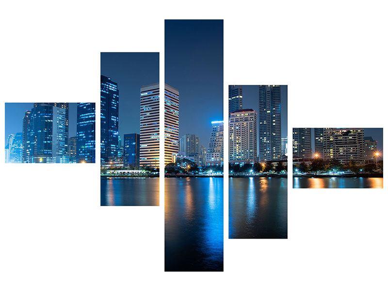Leinwandbild 5-teilig modern Skyline Bangkok bei Nacht