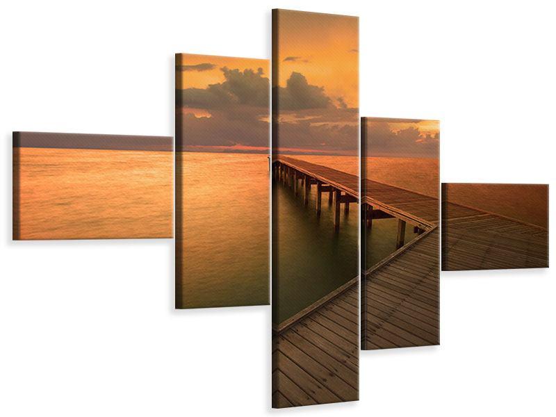 Leinwandbild 5-teilig modern Der Steg am Meer
