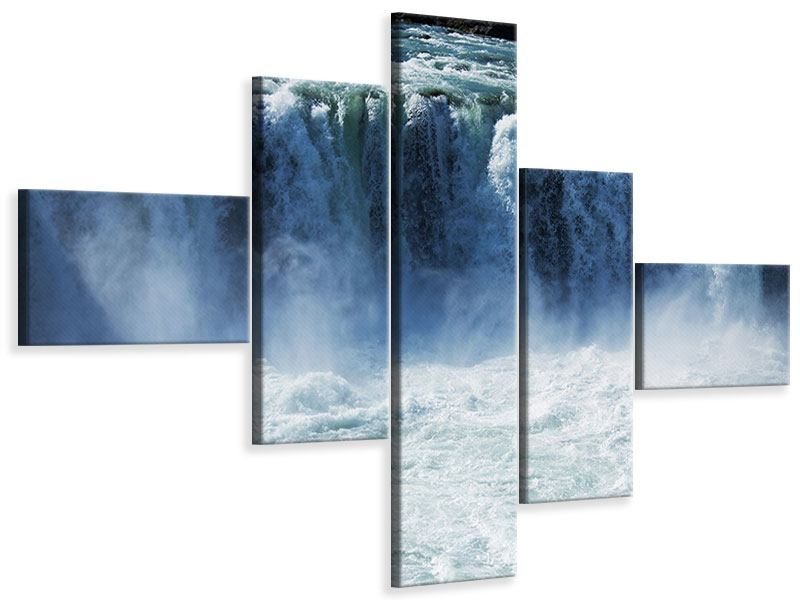 Leinwandbild 5-teilig modern Mächtiger Wasserfall