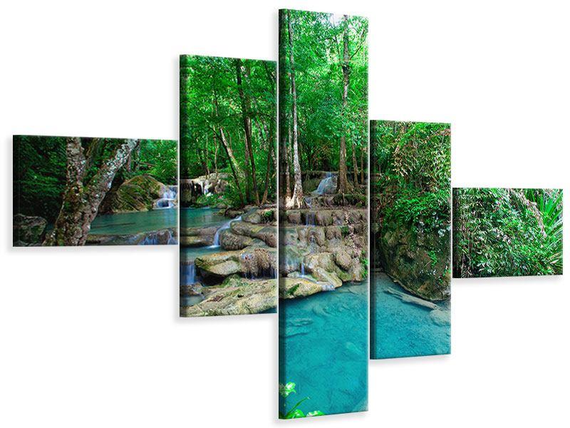 Leinwandbild 5-teilig modern Am Fusse von Erawan