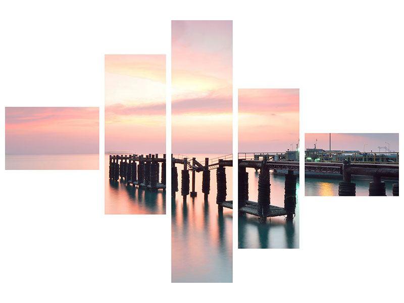 Leinwandbild 5-teilig modern Der beruhigende Sonnenuntergang
