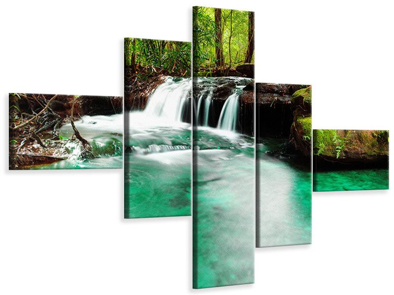 Leinwandbild 5-teilig modern Der Fluss am Wasserfall