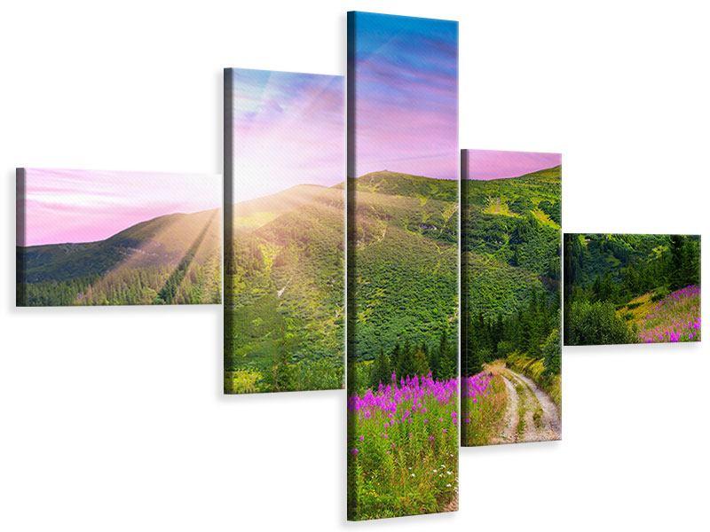 Leinwandbild 5-teilig modern Eine Sommerlandschaft bei Sonnenaufgang