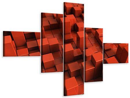 Leinwandbild 5-teilig modern 3D-Rechtkant