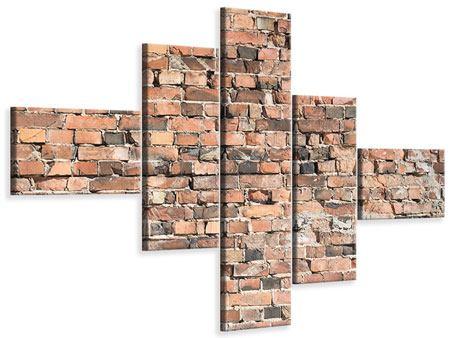 Leinwandbild 5-teilig modern Alte Backsteinmauer