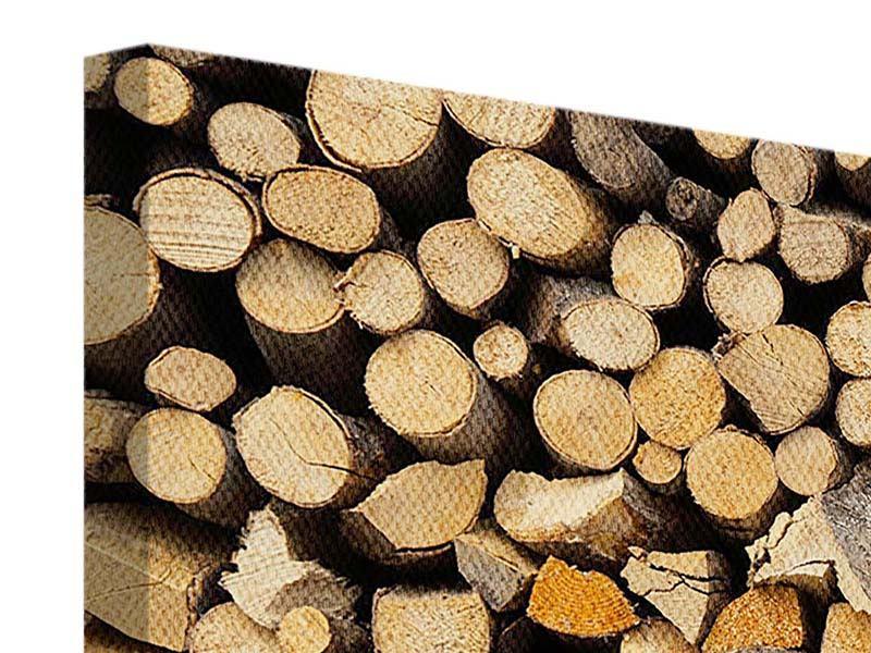 Leinwandbild 5-teilig modern Brennholz