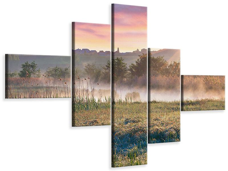 Leinwandbild 5-teilig modern Sonnenuntergang am Hügel