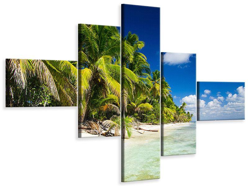 Leinwandbild 5-teilig modern Die einsame Insel