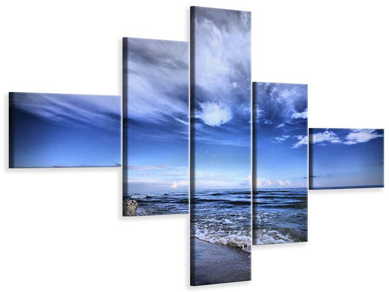 Leinwandbild 5-teilig modern Strandwellen