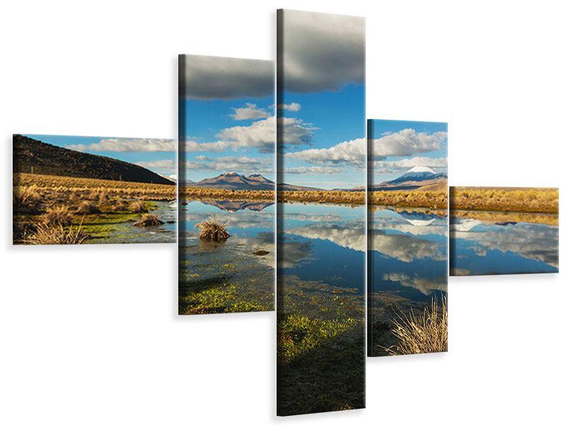 Leinwandbild 5-teilig modern Wasserspiegelung am See