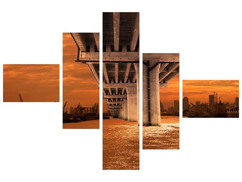 Leinwandbild 5-teilig modern Die Brücke