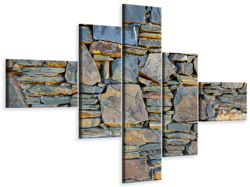 Leinwandbild 5-teilig modern Natürliche Steinmauer