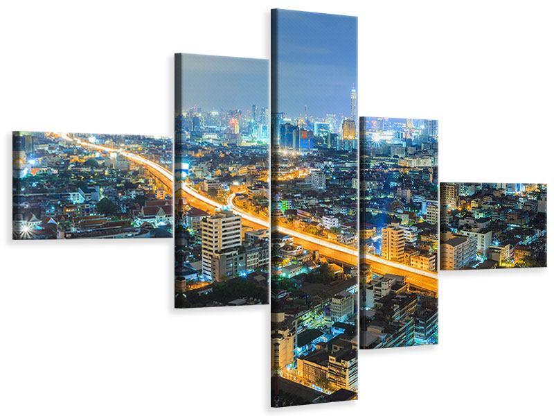 Leinwandbild 5-teilig modern Skyline Bangkok im Fieber der Nacht