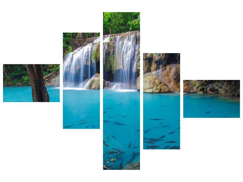 Leinwandbild 5-teilig modern Naturerlebnis Wasserfall