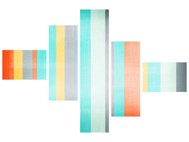 Leinwandbild 5-teilig modern Grunge Streifen