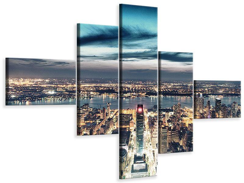 Leinwandbild 5-teilig modern Skyline Manhattan Citylights