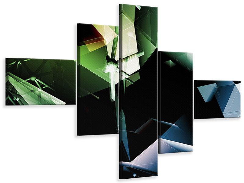 Leinwandbild 5-teilig modern 3D-Polygon
