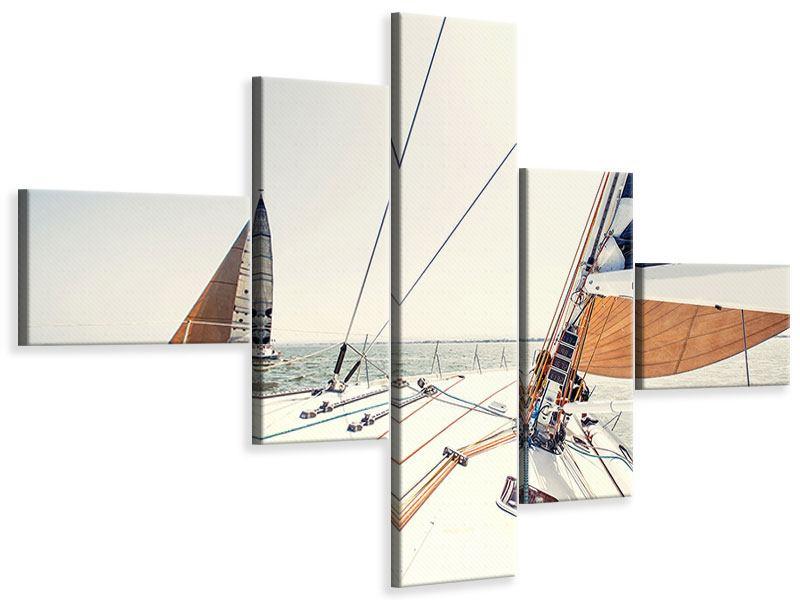 Leinwandbild 5-teilig modern Segelyacht