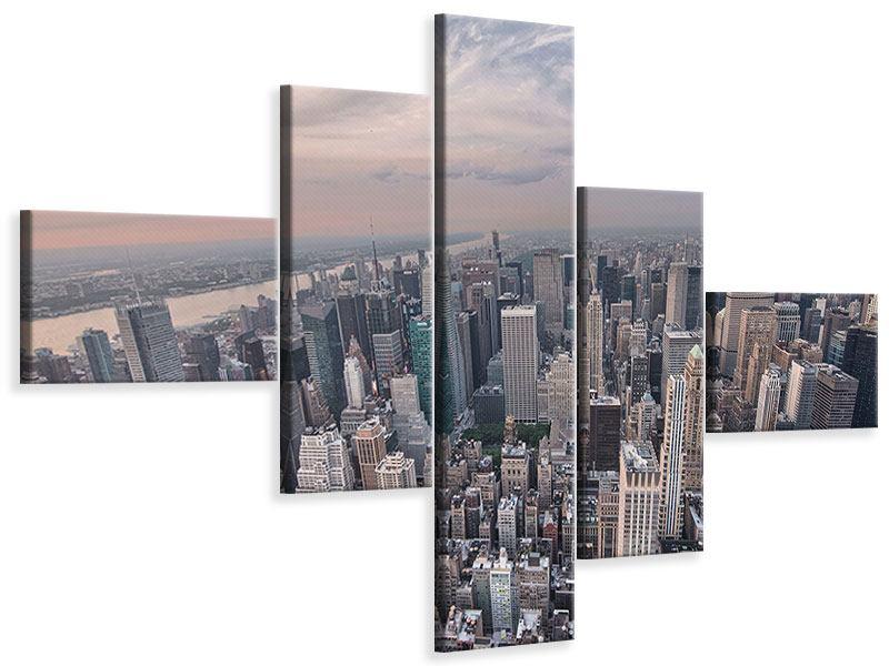 Leinwandbild 5-teilig modern Skyline Blick über Manhattan