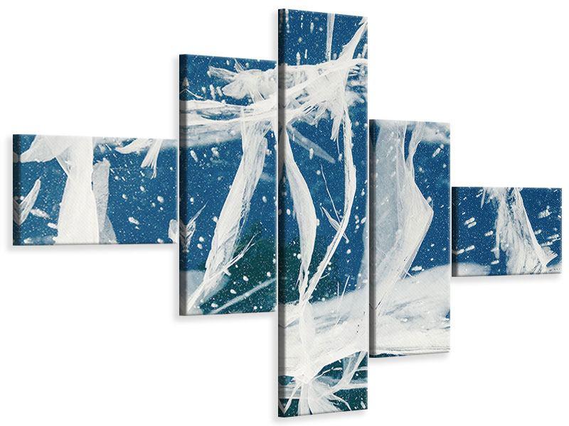Leinwandbild 5-teilig modern Eiskristalle