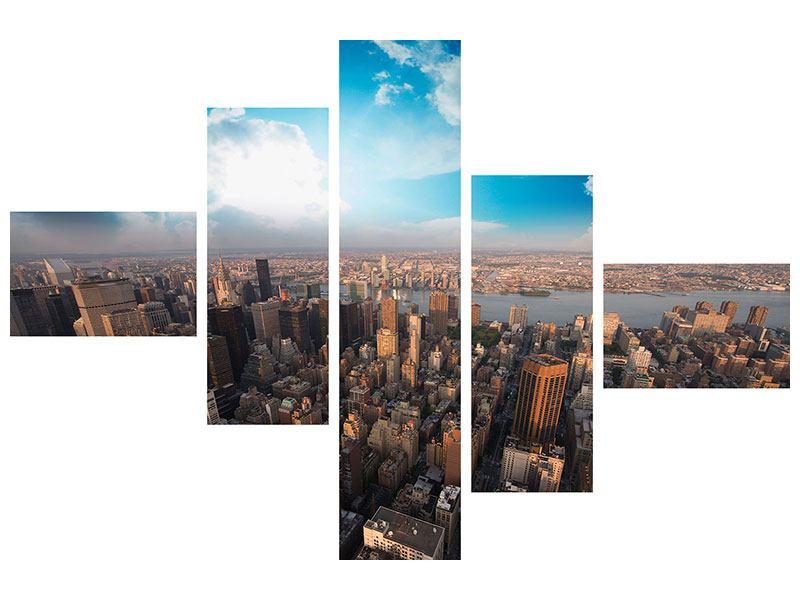 Leinwandbild 5-teilig modern Skyline Über den Dächern von Manhattan