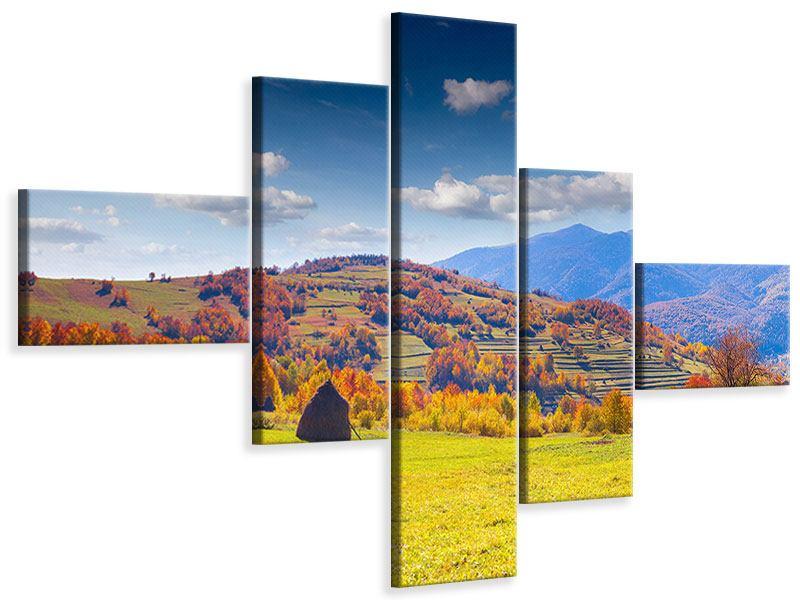 Leinwandbild 5-teilig modern Herbstliche Berglandschaft