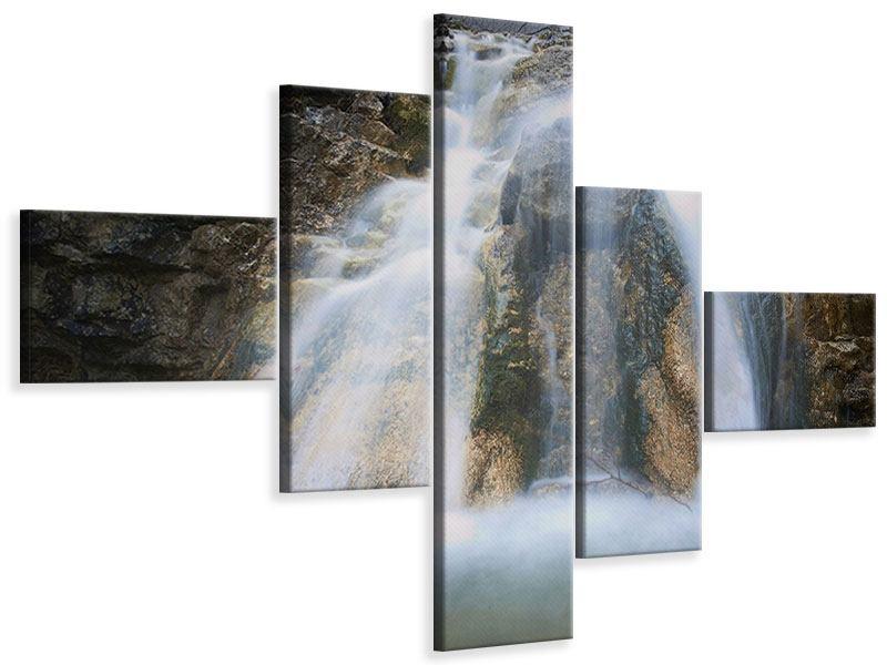 Leinwandbild 5-teilig modern Imposanter Wasserfall