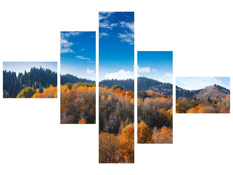 Leinwandbild 5-teilig modern Wolken ziehen auf