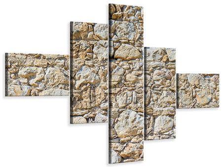 Leinwandbild 5-teilig modern Sandsteinmauer