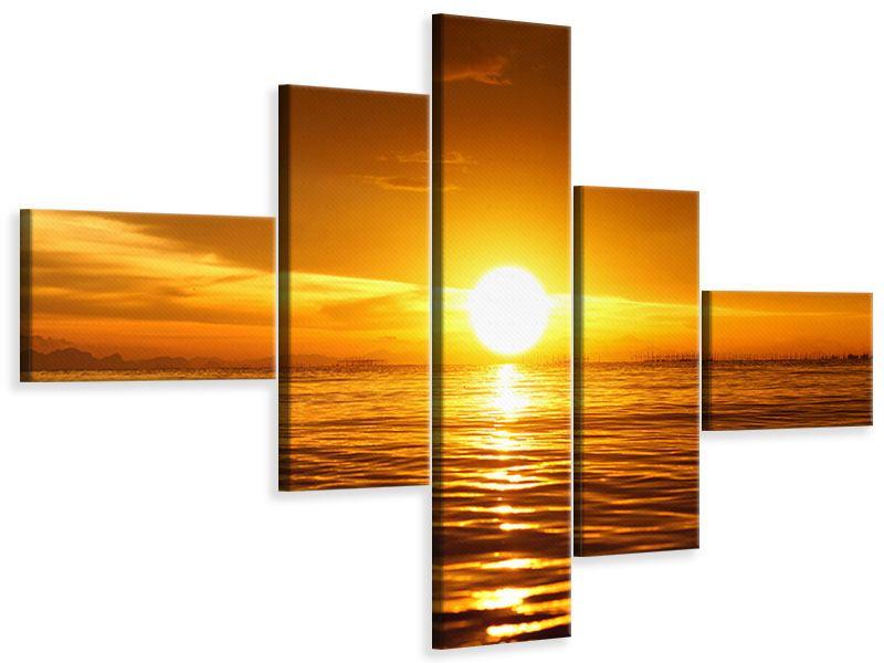 Leinwandbild 5-teilig modern Glühender Sonnenuntergang am Wasser