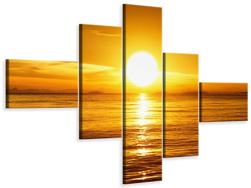 Leinwandbild 5-teilig modern Traumhafter Sonnenuntergang