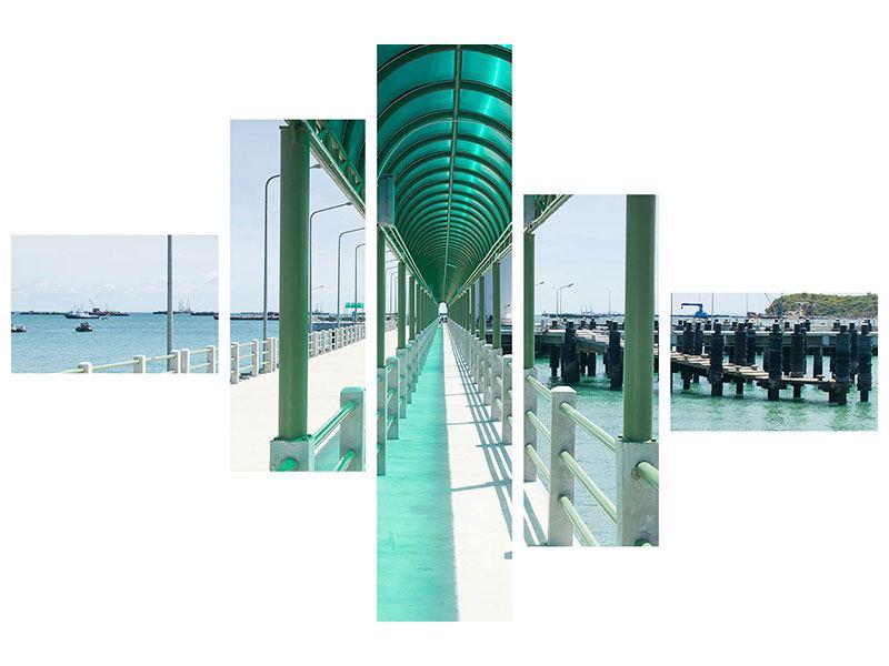 Leinwandbild 5-teilig modern Die Brücke am Meer
