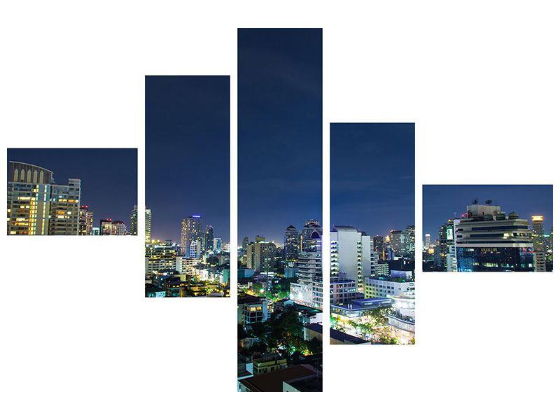 Leinwandbild 5-teilig modern Skyline Nachts in Bangkok