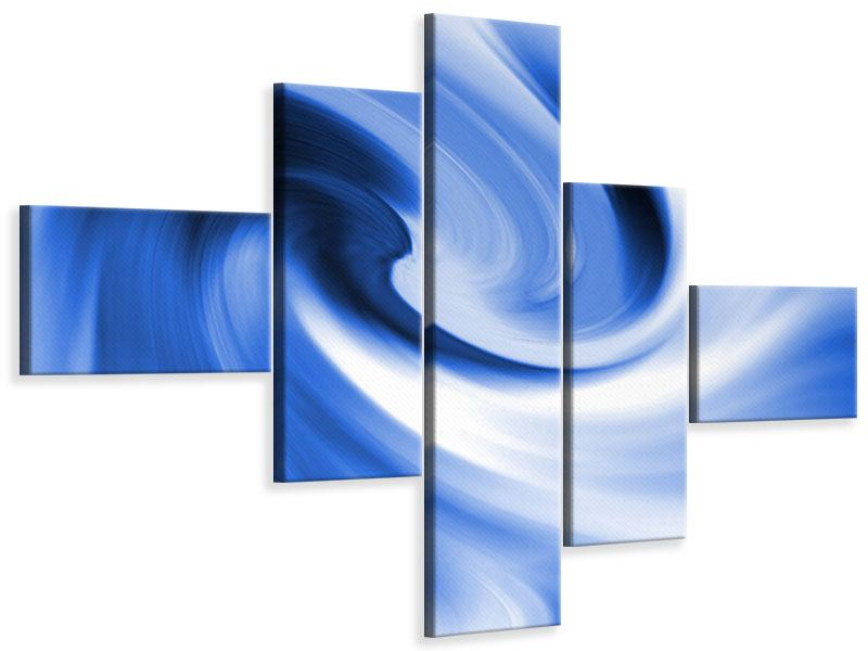 Leinwandbild 5-teilig modern Abstrakte blaue Welle