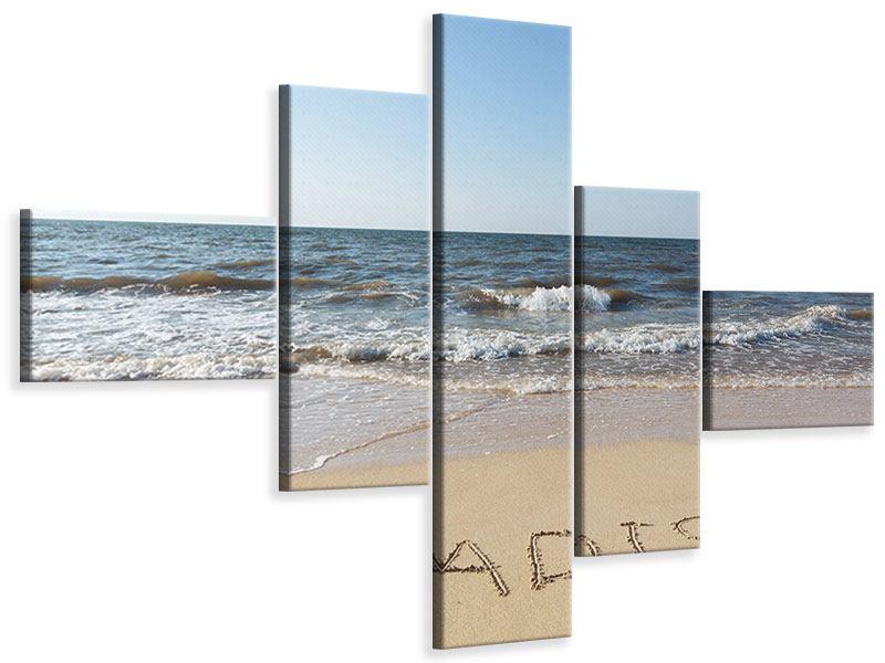 Leinwandbild 5-teilig modern Sandspuren