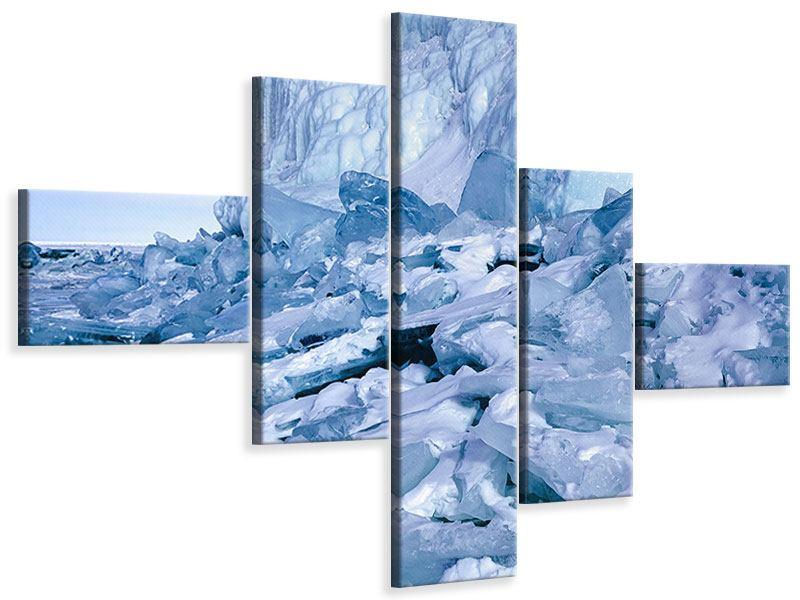 Leinwandbild 5-teilig modern Eislandschaft Baikalsee