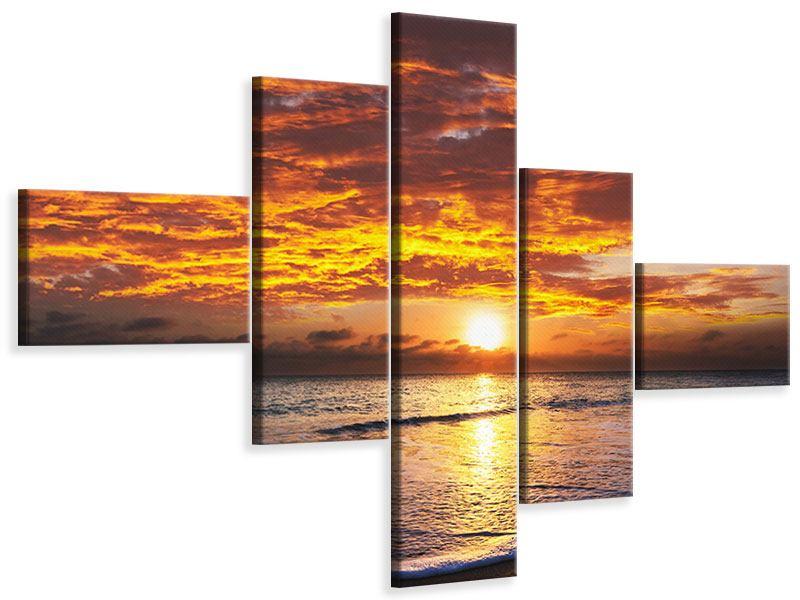 Leinwandbild 5-teilig modern Entspannung am Meer