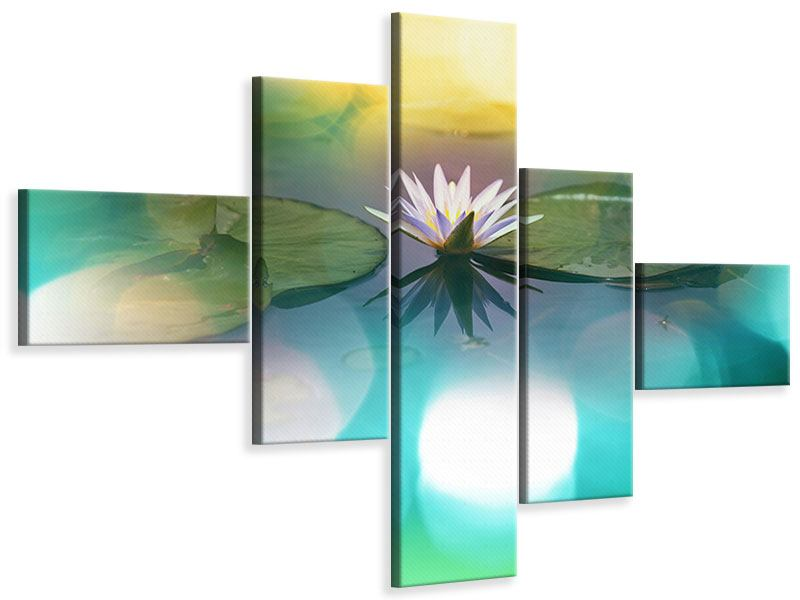 Leinwandbild 5-teilig modern Lotus-Spiegelung