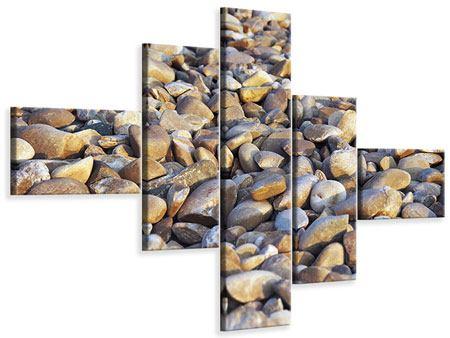 Leinwandbild 5-teilig modern Strandsteine