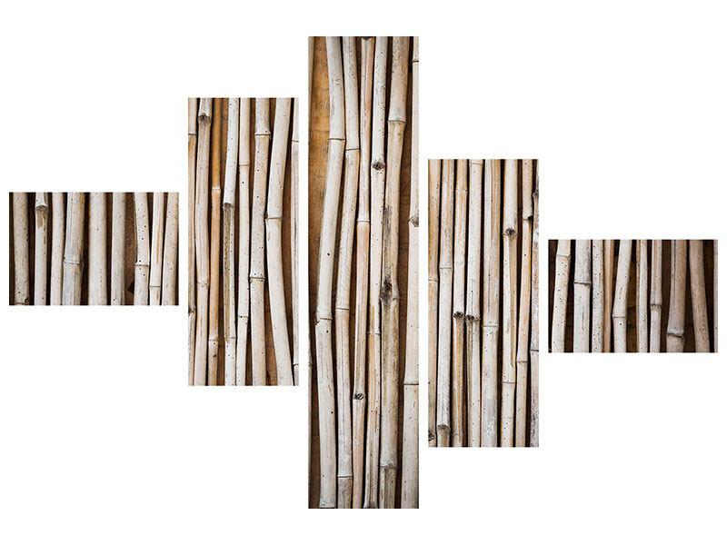 Leinwandbild 5-teilig modern Getrocknete Bambusrohre
