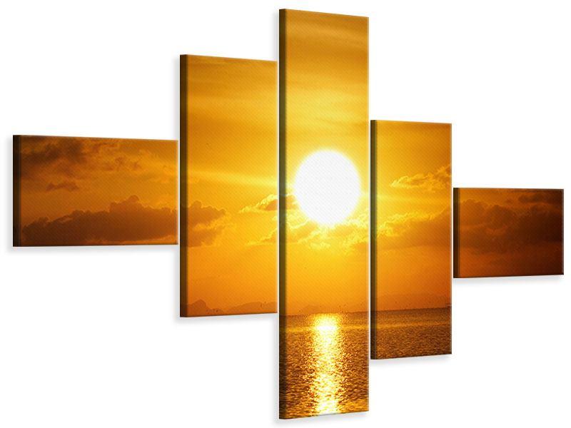 Leinwandbild 5-teilig modern Sonnenuntergang See