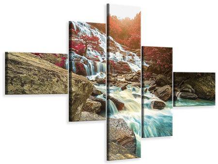 Leinwandbild 5-teilig modern Exotischer Wasserfall