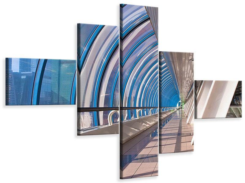 Leinwandbild 5-teilig modern Hypermoderne Brücke
