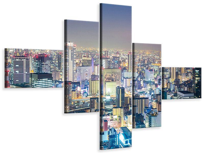 Leinwandbild 5-teilig modern Skyline Osaka bei Sonnenuntergang