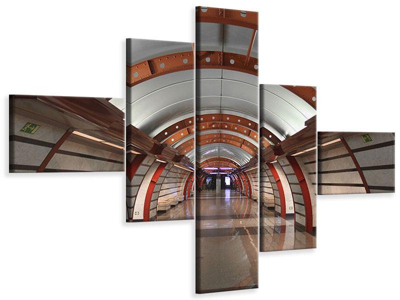 Leinwandbild 5-teilig modern U-Bahn Station