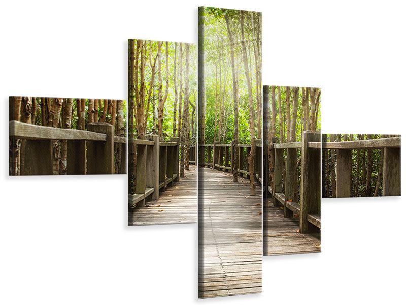 Leinwandbild 5-teilig modern Hölzerne Brücke