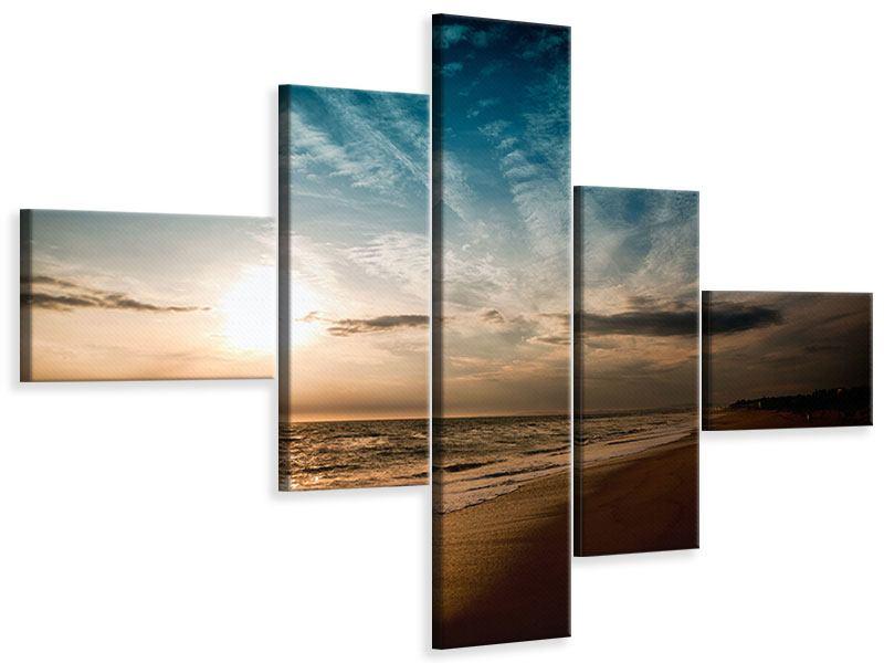 Leinwandbild 5-teilig modern Strandspaziergang
