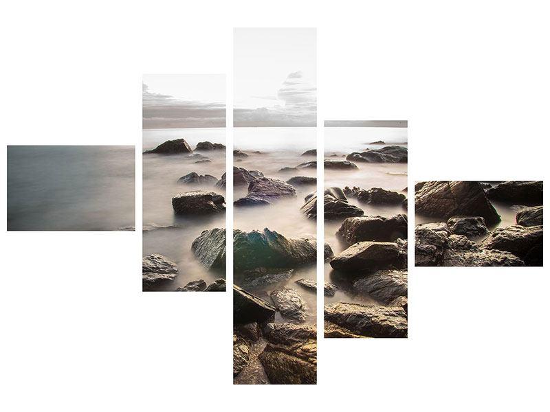 Leinwandbild 5-teilig modern Steine am Strand
